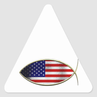 Ichthus - American Flag Triangle Sticker