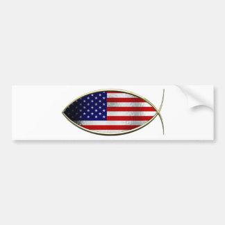 Ichthus - bandera americana pegatina de parachoque
