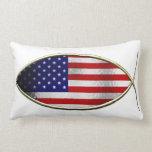 Ichthus - bandera americana cojines