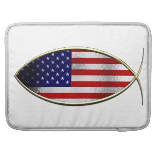 Ichthus - bandera americana funda para macbook pro