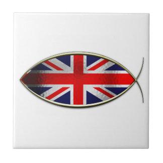 Ichthus - bandera británica azulejo cerámica