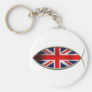 Ichthus - bandera británica llavero