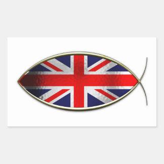 Ichthus - bandera británica rectangular pegatina