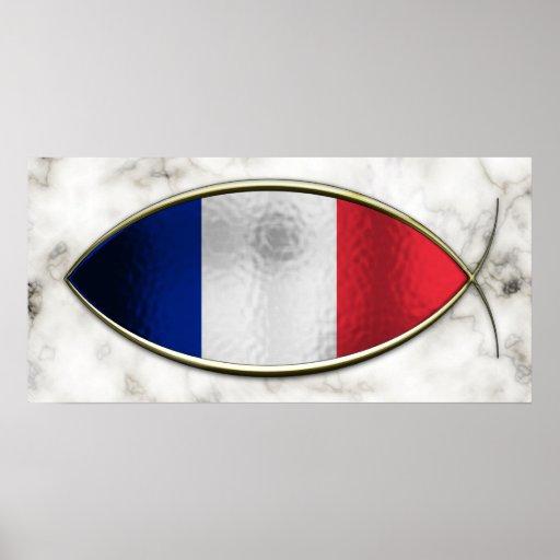 Ichthus - bandera francesa póster