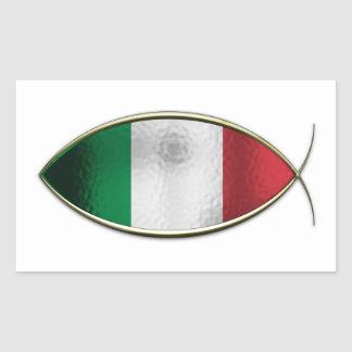 Ichthus - bandera italiana pegatina rectangular