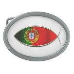 Ichthus - bandera portuguesa hebilla de cinturon oval