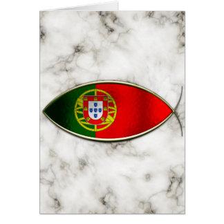 Ichthus - bandera portuguesa tarjeta de felicitación