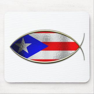 Ichthus - bandera puertorriqueña alfombrilla de raton