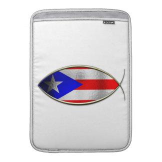 Ichthus - bandera puertorriqueña funda para macbook air