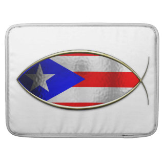 Ichthus - bandera puertorriqueña fundas macbook pro