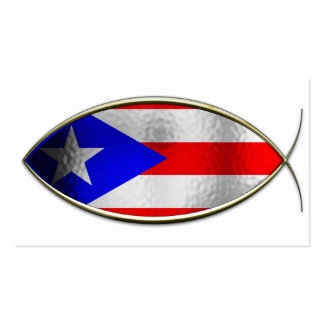 Ichthus - bandera puertorriqueña tarjetas de visita