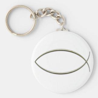 Ichthus Basic Round Button Keychain
