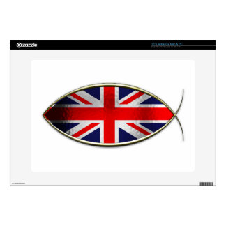 "Ichthus - British Flag 15"" Laptop Decal"