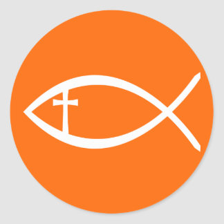 Ichthus Christian Fish Classic Round Sticker