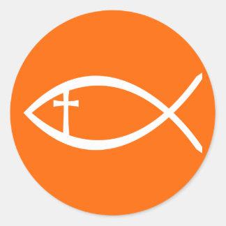 Ichthus Christian Fish Classic Round Sticker