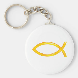 Ichthus - Christian Fish Symbol Basic Round Button Keychain