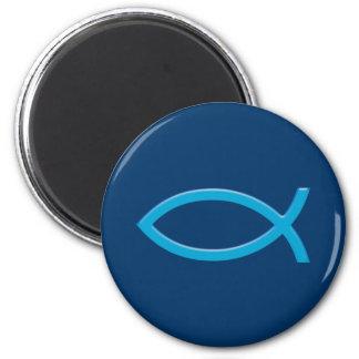 Ichthus - Christian Fish Symbol - Blue Magnet