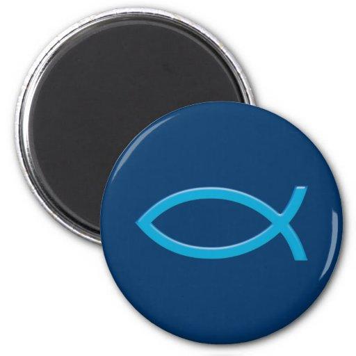 Ichthus - Christian Fish Symbol - Blue 2 Inch Round Magnet