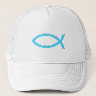 Ichthus - Christian Fish Symbol - Blue Trucker Hat