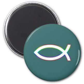 Ichthus - Christian Fish Symbol - Glowing 2 Inch Round Magnet