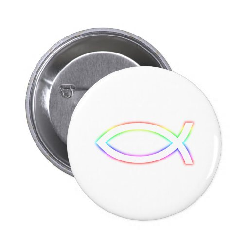 Ichthus - Christian Fish Symbol - Glowing Pinback Buttons