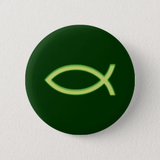 Ichthus - Christian Fish Symbol - Light Green Button