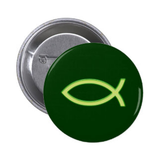 Ichthus - Christian Fish Symbol - Light Green 2 Inch Round Button