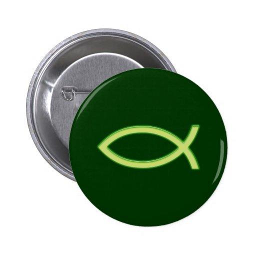 Ichthus - Christian Fish Symbol - Light Green Buttons