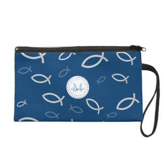 Ichthus Christian Fish Symbol Pattern Monogrammed Wristlet