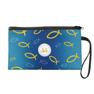 Ichthus Christian Fish Symbol Pattern Monogrammed Wristlet Clutches