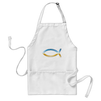 Ichthus - Christian Fish Symbol  Sky & Ground Adult Apron
