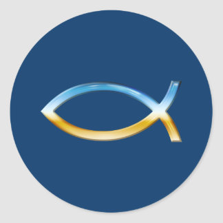 Ichthus - Christian Fish Symbol  Sky & Ground Classic Round Sticker