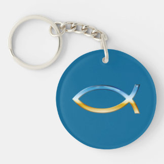 Ichthus - Christian Fish Symbol Sky & Ground Double-Sided Round Acrylic Keychain