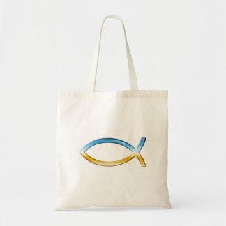 Ichthus - Christian Fish Symbol  Sky & Ground Tote Bag