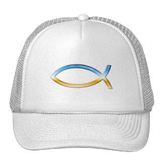 Ichthus - Christian Fish Symbol  Sky & Ground Trucker Hat