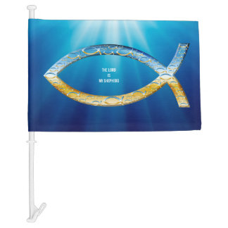 Ichthus - Christian Fish Symbol - Small Fishes Car Flag