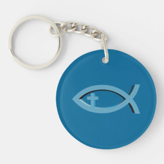 Ichthus - Christian Fish Symbol with Cross - Blue Double-Sided Round Acrylic Keychain