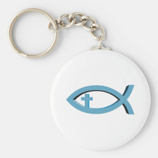 Ichthus - Christian Fish Symbol with Crucifix Keychain