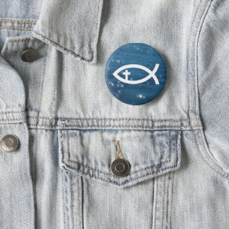 Ichthus - Christian Fish with cross Button