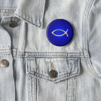 Ichthus - Christian Fishes Pinback Button