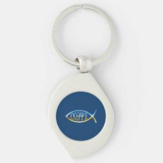 Ichthus Chrystian Fish Symbol Silver-Colored Swirl Metal Keychain