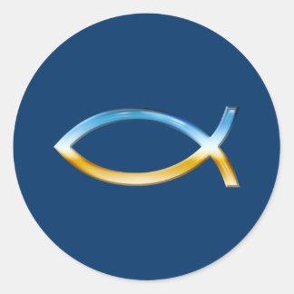 Ichthus - cielo y tierra cristianos del símbolo de pegatina redonda