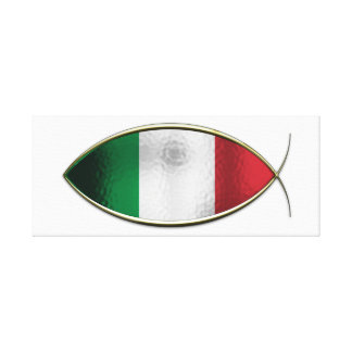 Ichthus - Italian Flag Stretched Canvas Print