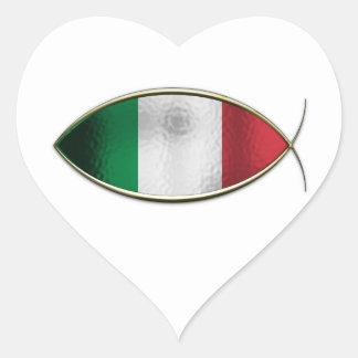 Ichthus - Italian Flag Heart Sticker