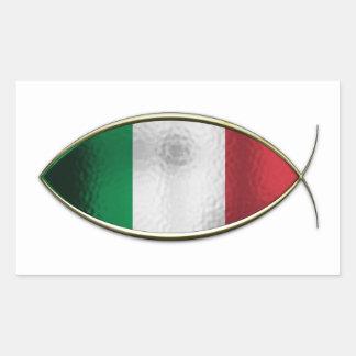 Ichthus - Italian Flag Rectangular Sticker