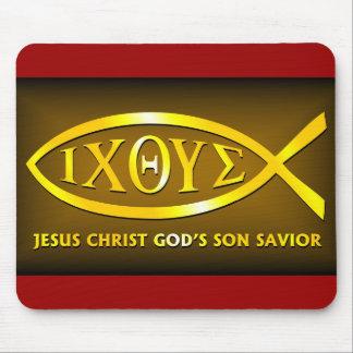 ICHTHUS: Jesus Fish Symbol Mouse Pad