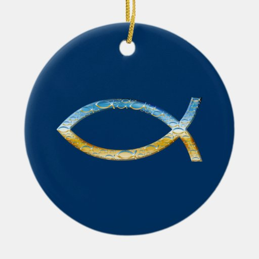 Ichthus - ornamento cristiano adorno navideño redondo de cerámica