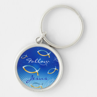 Ichthus Pattern on Blue Background Silver-Colored Round Keychain