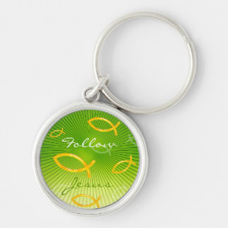 Ichthus Pattern on Green Background Silver-Colored Round Keychain