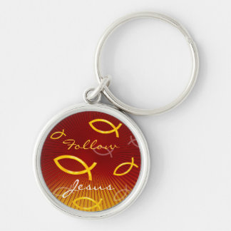 Ichthus Pattern on Red Background Keychain
